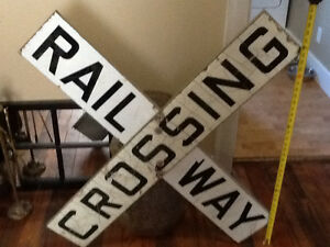 Vintage antique rail way crossing sign