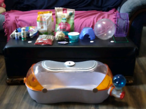 Hamster cage, accessories, and more