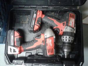 Milwaukee M18 Drill/Driver/hammer Drill and iIpact Driver set