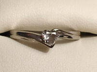 Certified Canadian Diamond Ring; Heart Stone, 14kt White Gold