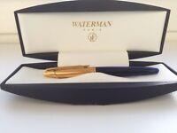 WATERMAN EDSON BLUE SAPPHIRE & GOLD TRIM FOUNTAIN PEN MEDIUM NIB