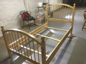 Twin bed, wood frame