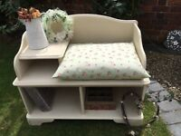 Shabby Chic Country Pine Telephone Seat/Table