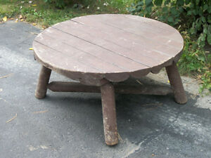 RUSTIC OLD  SOLID  LOG  CABIN   TABLE London Ontario image 1