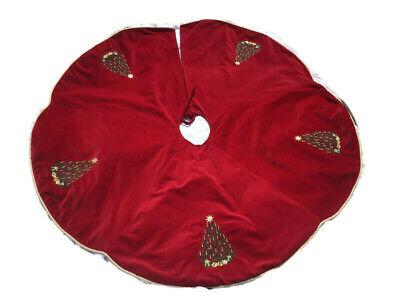 "Vintage Red Velvet Christmas Tree Skirt Scalloped Embroidered Trees Presents 50"""
