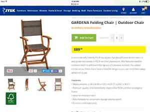 4 brand new outdoor chairs at 60 each, brand new, never used!!