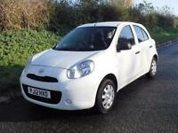 2012 NISSAN MICRA VISIA 1.2 5 DOOR, White, Manual, Petrol