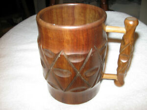 CLASSY DECORATIVE HANDLED MUG made of SOLID WOOD for your DESK