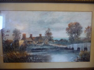 """Original Watercolor """"Village In The Country"""", Carrie Walker 1935 Stratford Kitchener Area image 2"""