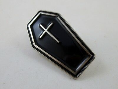 Black Enamel Witch Coffin Cross Pin Brooch Wiccan Pagan Satanic Halloween - Coffin Witch