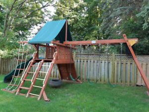 Playground  complete play set: swings, slide, climbing platform