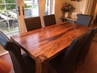 Solid rosewood kitchen table, 6 leather chairs (not oak pine)
