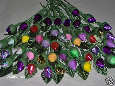 Chocolate Bridal Shower Favors - bridal/SHOWER/BIRTHDAY/ WEDDING FAVORS 50 HERSHEY KISS CHOCOLATE ROSES LOW PRICE