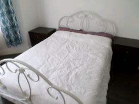 White Metal Double Bed Frame only