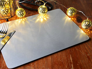 Set of 6 CHRISTMAS SILVER FOIL Cork-Backed PLACEMATS Table Mats By Creative Tops