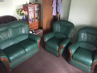 Real green leather sofa