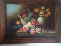ANTIQUE HAND CARVED FRAME AND HAND PAINTED PICTURE