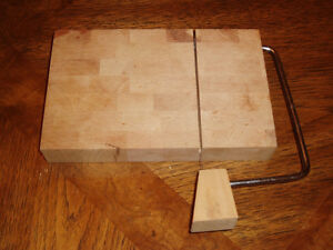 HAND MADE WOODEN BLOCK CHEESE CUTTER