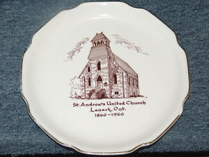 1960 collector's plate for St. Andrew's United Church, Lanark