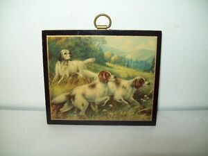 OLD LARGE DOLLHOUSE PAINTING OF DOGS