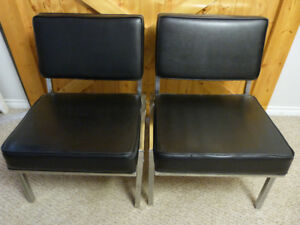 Vintage Retro Black Chairs -  Pair