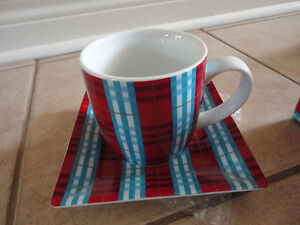 Second cup red/blue plaid coffee mug and saucer plate set New London Ontario image 2