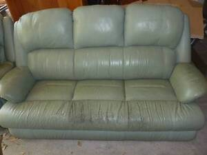 Leather Lounge, 3 seater, plus Single Seat Recliner. Pale Green. Willoughby Willoughby Area Preview