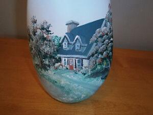 Vase turquoise peint à la main (Vintage)