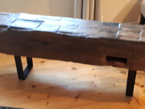 barn beam benches and sofa tables