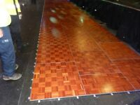 2 X Parquet Dancefloor, (includes edging, and spare panels in need of repair)