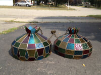 2 Stained glass light fixtures w/lights - work!!