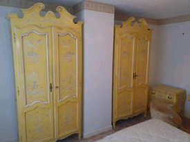 48. 1930's Italian antique hand painted wardrobes