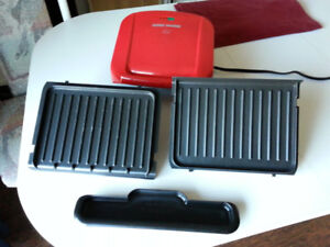 Compact George Foreman Electric BBQ Grill with Removable Plates