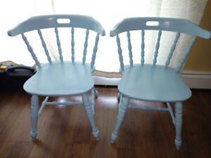 (7) Seven Solid Wood Kitchen Captain Chairs for Sale.