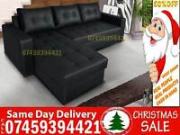 50% Off BRAND NEW LEATHER CORNER SOFA BED SETTEE, 5 SEATER FABRIC STORAGE SOFABED