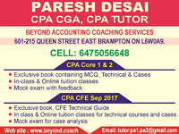 Training for CPA Core 1, 2 and CFE 2017 exam