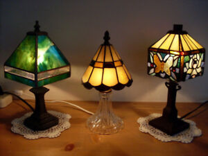 TIFFANY BUTTERFLY w. ROSE, ALL GREEN, CRYSTAL, VINTAGE LAMPS
