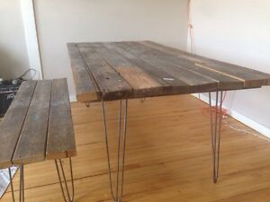 reclaimed wood table. hairpin legs.