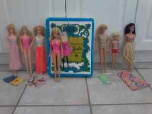 Vintage Barbies, Case, and Accessories
