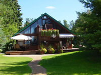 Sand Beach,Lakefront Log Home,small Resort Business in PARADISE