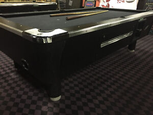 POOL TABLE-BLACK WITH CHROME ACCENTS