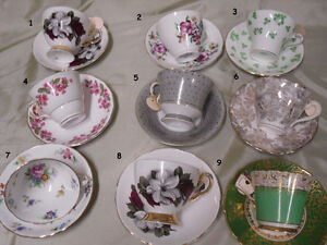 Variety of Bone China cups & saucers