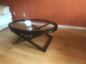 Solid dark wood and glass Coffee table and 2 end tables