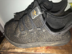 Gold and black adidas sneakers kids