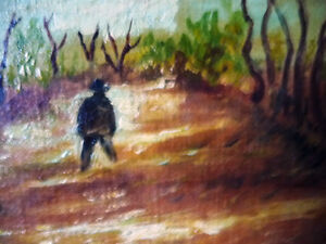 "Vintage Oil on Board ""Man Walking, From A Dream"" 1920's Stratford Kitchener Area image 3"