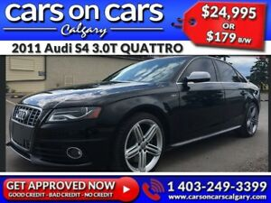 2011 Audi S4 3.0T QUATTRO w/Sunroof, Leather, Navi $179B/W INSTA