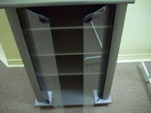 3 shelves glass doors cabinet