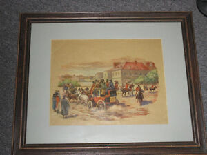PAIR ANTIQUE FRAMED ENGLISH PRINTS   REDUCED TO 15.00