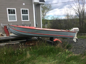14 ft alum boat, 15hp motor and trailer for sale