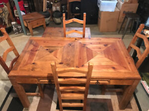 Solid Wood Kitchen Table, 4 Chairs & Extra's